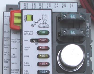 canadian rodder builds a hot rod close up view of the advantage panel showing labelling and on board fuses and flasher very slick top quality